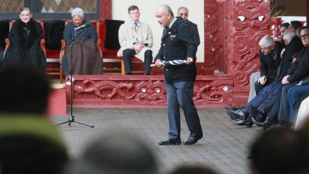 Maori Party leader Te Ururoa Flavell at the powhiri for politicians at the koroneihana.