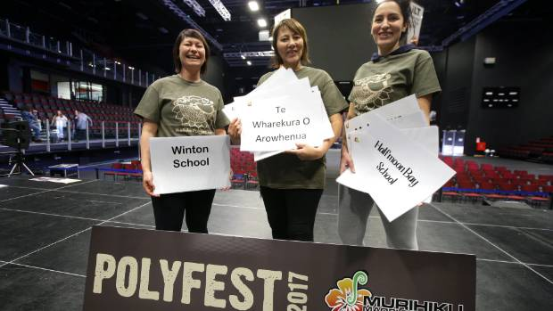 Polyfest organisers, from left, Tania Carran, Pauline Smith and Mandy Smith gear up for the six-day event at Stadium ...