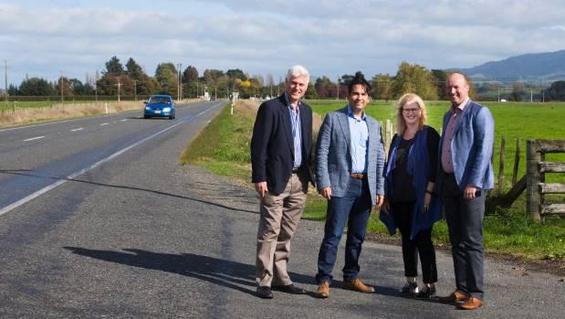 From left, Hamilton West MP Tim Macindoe, Minister of Transport Simon Bridges, Taupo MP Louise Upston and Hamilton East ...