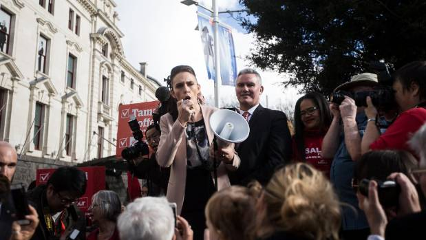 Jacinda Ardern pulls out the megaphone to speak to those who'd queued outside.
