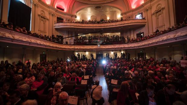 The Auckland Town Hall was overflowing to watch Jacinda Ardern's campaign launch.