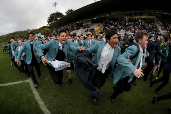 St Patrick's College, Silverstream pupils storm the field after their first XV won the WelTec Premiership final against ...