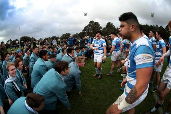 The St Patrick's College, Silverstream first XV perform their haka with their schoolmates after winning the WelTec ...