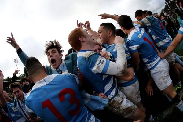 The St Patrick's College, Silverstream first XV celebrate with their schoolmates after winning the WelTec Premiership ...