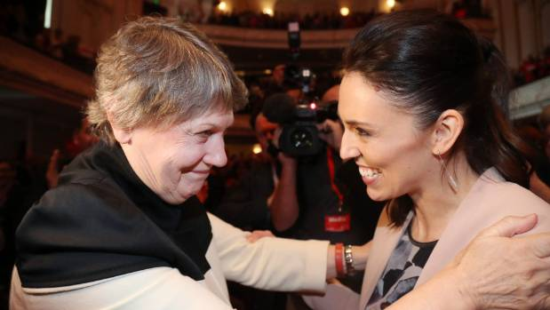 Former Prime minister Helen Clark embraces Labour leader Jacinda Ardern during the launch.
