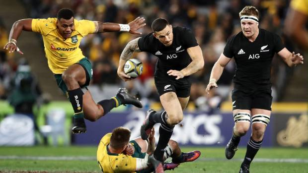 Sonny Bill Williams is clear and it's mayhem in the Wallabies defence as the All Blacks raised a half-century in Sydney