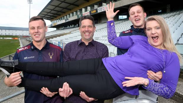Stags lock Jack Capil, Rugby Southland general manager Andrew Moreton and Stags halfback Liam Howley with Southland ...