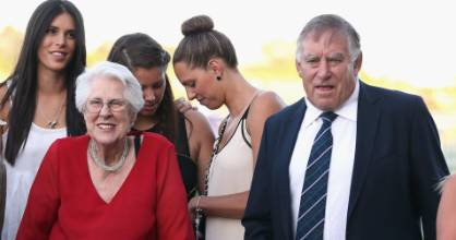 Sir Colin Meads and his wife Lady Verna celebrate after Ruud Awakening won the Karaka Million at Ellerslie in 2013.