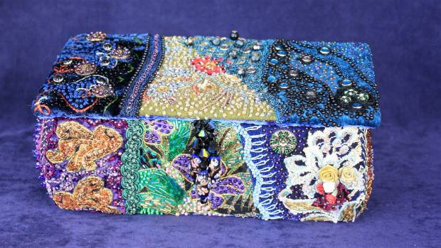 For the Love of Beads by Sharon Kennedy, of Motueka, won the created with fabric class.