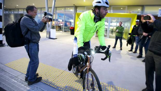 Scottish Adventure cyclist Mark Beaumont at Invercargill Airport, starting the New Zealand leg of his trip, to cycle ...