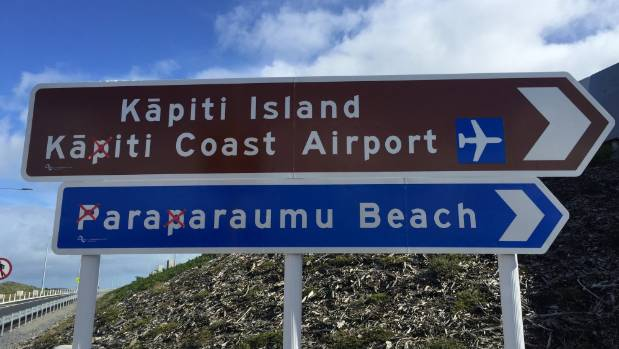 Road signs around Kapiti have had the letter P taped over.