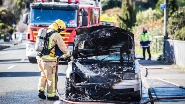 Emergency services respond to a vehicle fire on Princes Drive in Britannia Heights, Nelson.