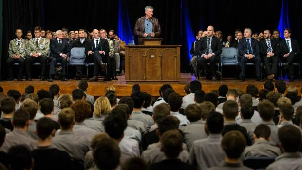 Graham Mourie told the 1200 students that life was going to change a lot in the next few years.
