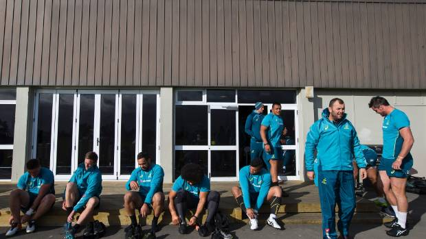 The Wallabies prepare for practice at Christchurch's Linfield Park on Monday.