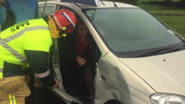 Carolyn Aish was cut from her crashed car.