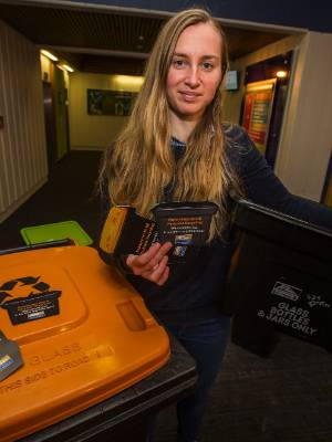 Sam Battman is woking inside and outside the Palmerston North City Council building to make recycling easier for people.