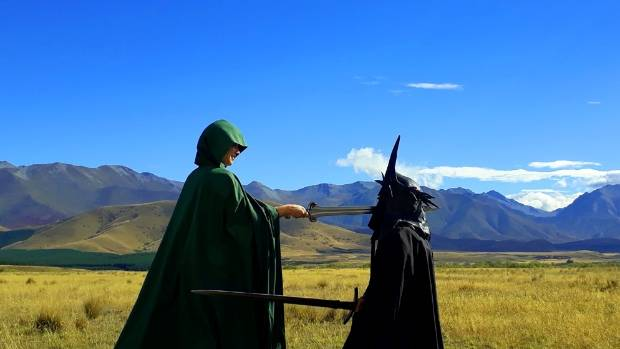 Lord of the Rings fans recreate a scene from the Pelennor Fields battle in New Zealand.