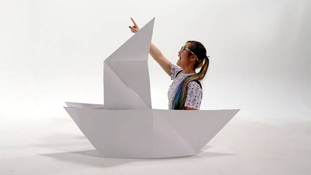The boat is part of a competition, inviting people  to submit words related to the sea into it to be in to win dinner ...