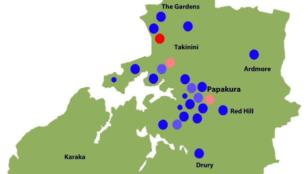 A section of polling booth locations in Papakura. A light shade of colour indicates a marginal location.