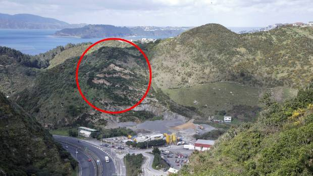 The area around the red circle - clearly visible to drivers heading south down Ngauranga Gorge - could be quarried if ...