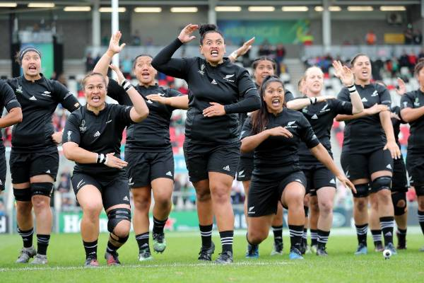 The Black Ferns perform the haka before their Women's Rugby World Cup semifinal.