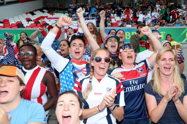 Most of the fans in the stand in Belfast, Northern Ireland, for the Black Ferns' world cup semifinal were supporting USA.