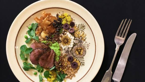 Roast lamb on a bed of peeled broad beans –  but does any dish really needs three types of puffed quinoa as a garnish?