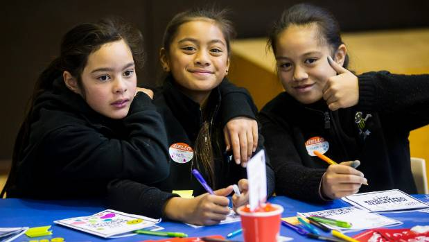 Central Normal pupils Ngamarama Tuariki, 10, Nevaeh Anihana, 11, and Calais Parkinson, 10, learning about being Kind Hearts.