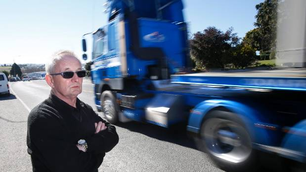 Timaru Engravers and Giftware owner Ewen Lawson is sick and tired of heavy trucks travelling through Timaru, and wants ...
