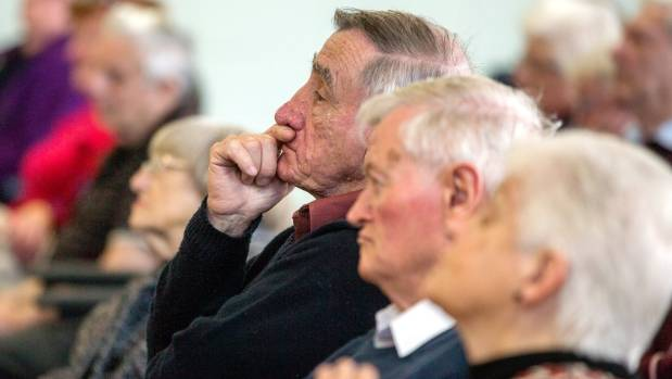 Grey Power members listen to candidates for Palmerston North pitch for votes.