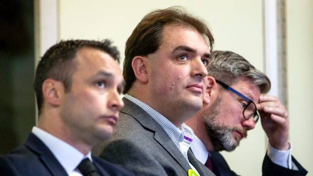 From left, Darroch Ball (NZ First), Robin McCandless (Green) and Iain Lees-Galloway (Labour) at a debate hosted by Grey ...