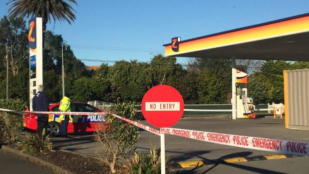 Police at the Z Petrol Station in Hawera following a robbery in the early hours of Thursday, August 24.