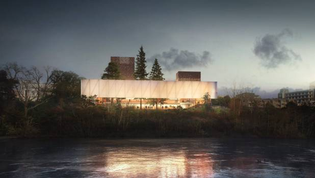 An artist's impression of what the new Waikato regional theatre could look like from the river. Full designs are still ...