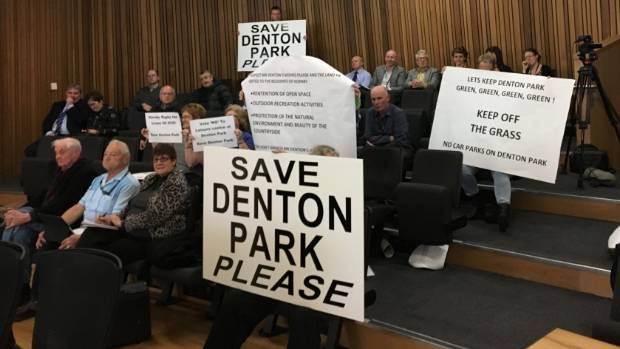 Denton Park supporters make their views seen and heard during a contentious Christchurch City Council decision to build ...