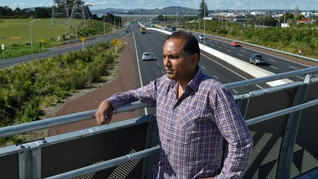 Te Atatu Peninsula man Saten Sharma, 50, says the 80kmh speed limit on the northwestern motorway further up was ...