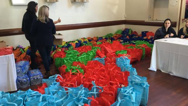 Completed back packs fill the Grey Lynn Library Hall