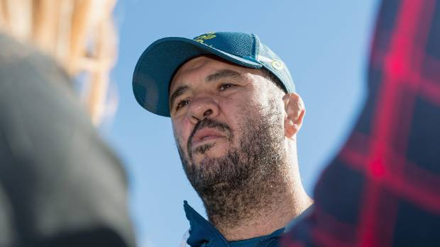 Michael Cheika speaks to reporters after a Wallabies training session at Linwood Rugby Club on Thursday.