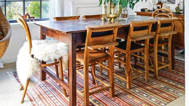The rug you choose to go under your dining table should be larger than the table so there is enough space for the chairs ...