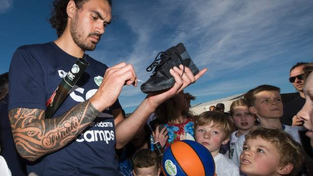 Steven Adams with some of the participants at his coaching clinic in Christchurch on Friday.