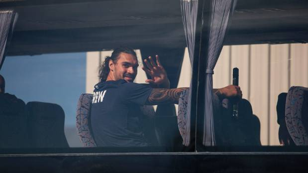 Steven Adams gives a wave on his way to Christchurch Airport on Friday.