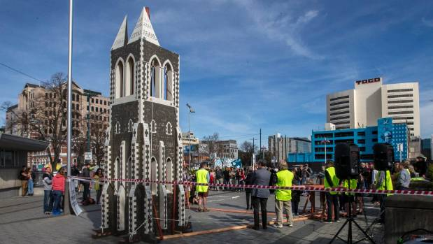 An 8.4-metre model of the People's Steeple is launched in Cathedral Square on Sunday.