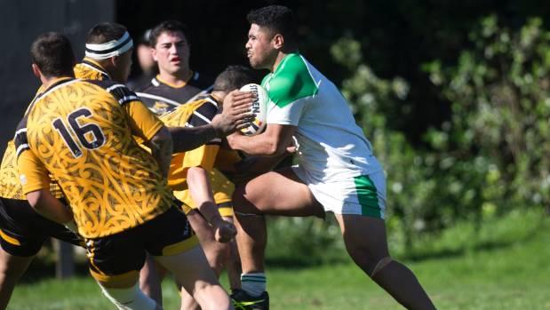 Manawatu Mustangs prop Wesley Veikoso hurls himself into the Taranaki Sharks defence in New Plymouth on Saturday.