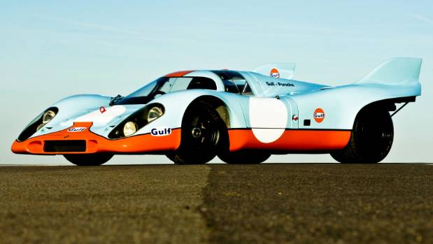 Powder blue and orange sounds terrible on paper but in practice it looks so right on this 1971 Porsche 917. Go Gulf!