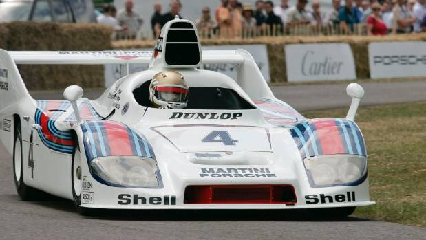 One of the great racing liveries - a 1977 Martini Racing Porsche 936/77.