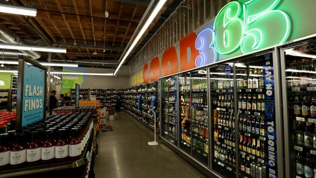 The beer and wine aisle of a 365 by Whole Foods Market grocery store is pictured ahead of its opening day in Los ...