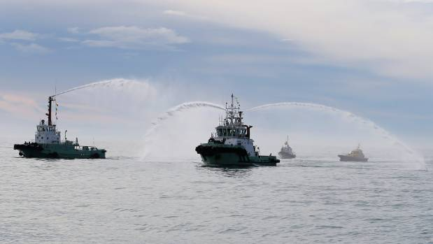 Kiwa was greeted by two tug boats and pilot boat Ohau as it arrive in Timaru on Monday.