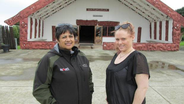 Raewyn Bhana, left, and Kasia Grantham invite people to a White Ribbon march in Manurewa, south Auckland, on September ...