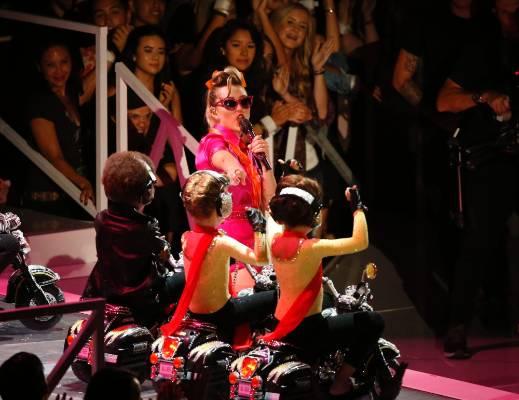 Miley Cyrus performs.