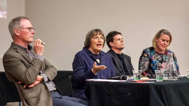 Former Massey University vice-chancellor Steve Maharey, food writer Lauraine Jacobs, Richard Hall from Kai Pasifika and ...