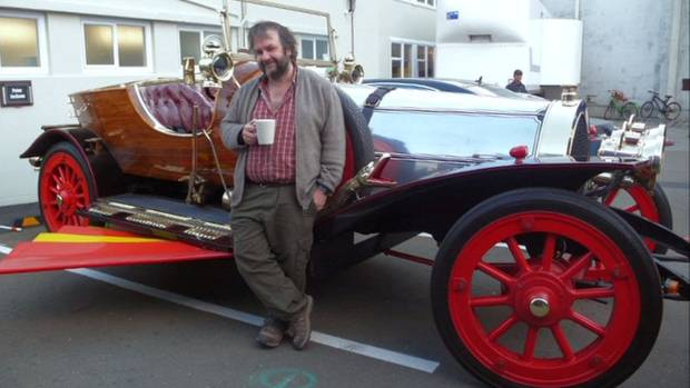 Sir Peter Jackson with Chitty Chitty Bang Bang, an item for his movie collection which will be housed in the new Movie ...